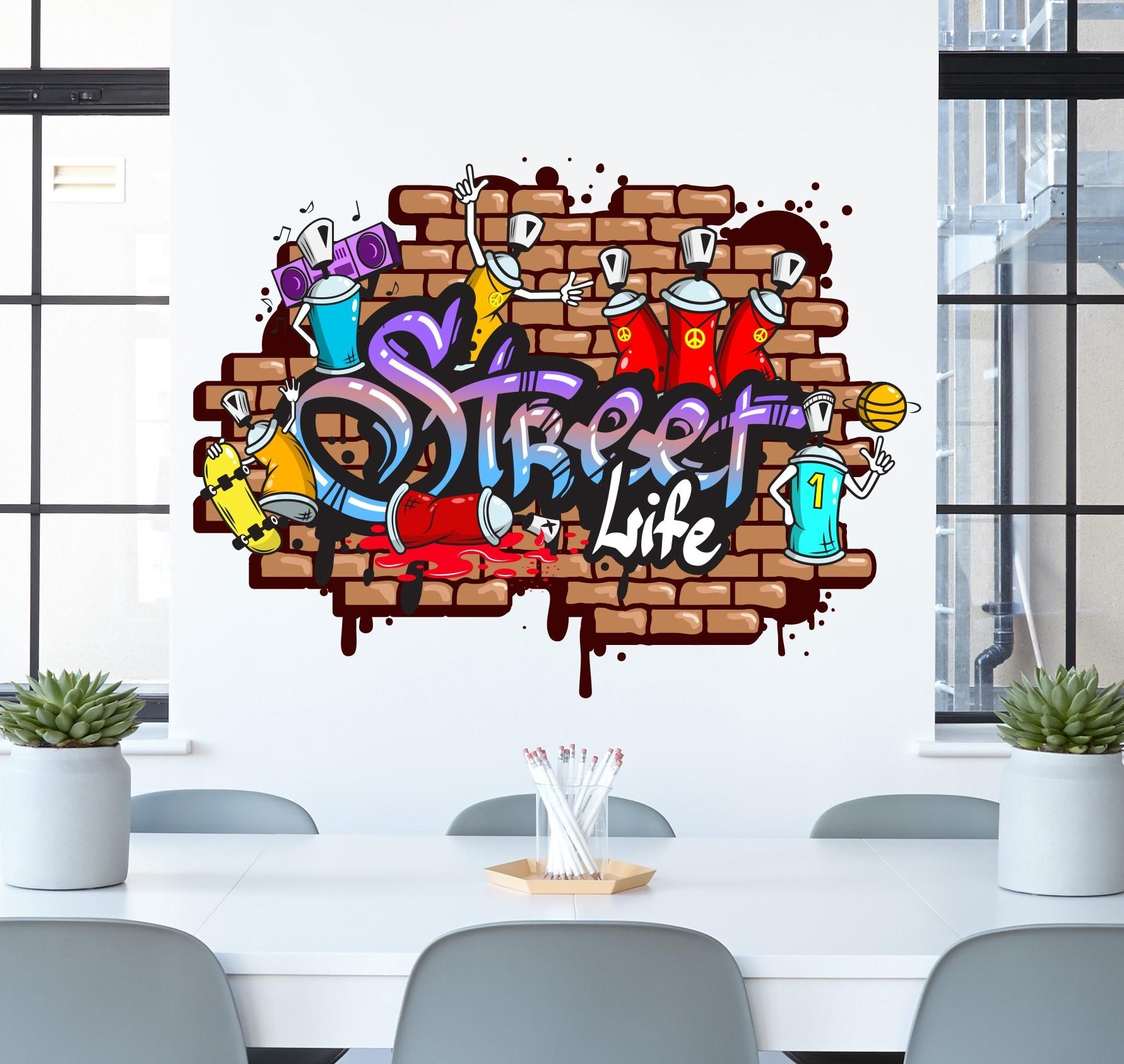 Graffiti Wall Sticker – Teenager Wall Decals – Street Art Within Graffiti Wall Art Stickers (Image 8 of 20)