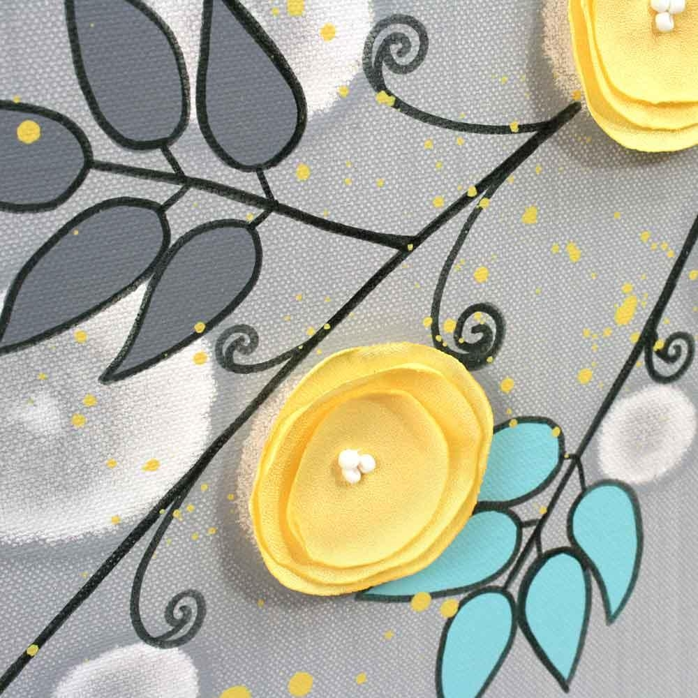 Gray And Yellow Wall Art Painting Of Flowers On Canvas – Large For Large Yellow Wall Art (View 8 of 20)