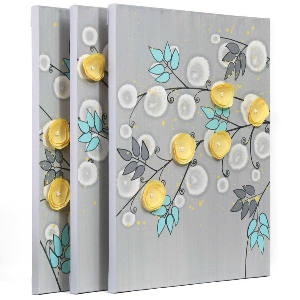 Gray And Yellow Wall Art Painting Of Flowers On Canvas – Large With Large Yellow Wall Art (Image 9 of 20)