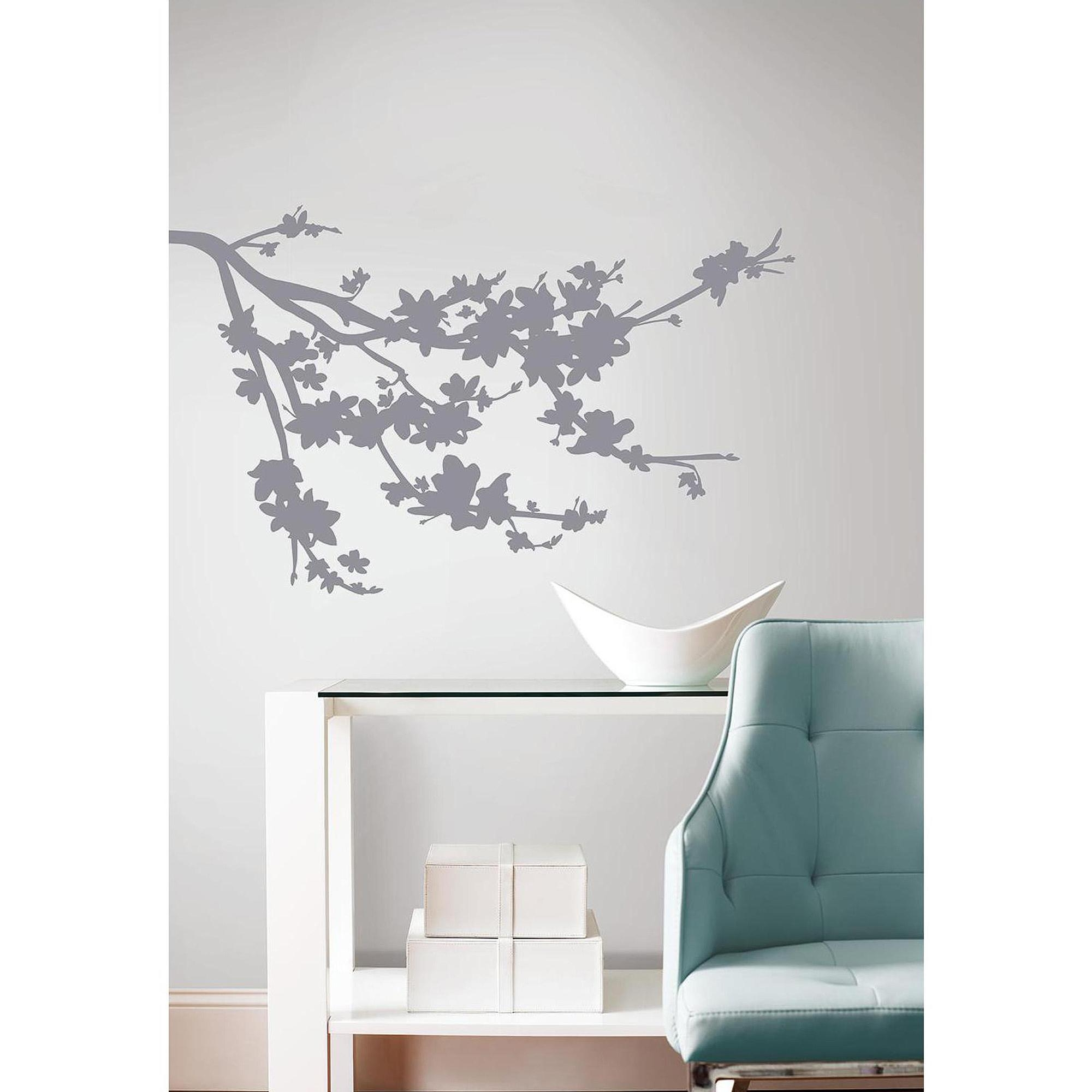 Gray Silhouette Blossom Branch Peel And Stick Wall Decals inside Walmart Wall Stickers