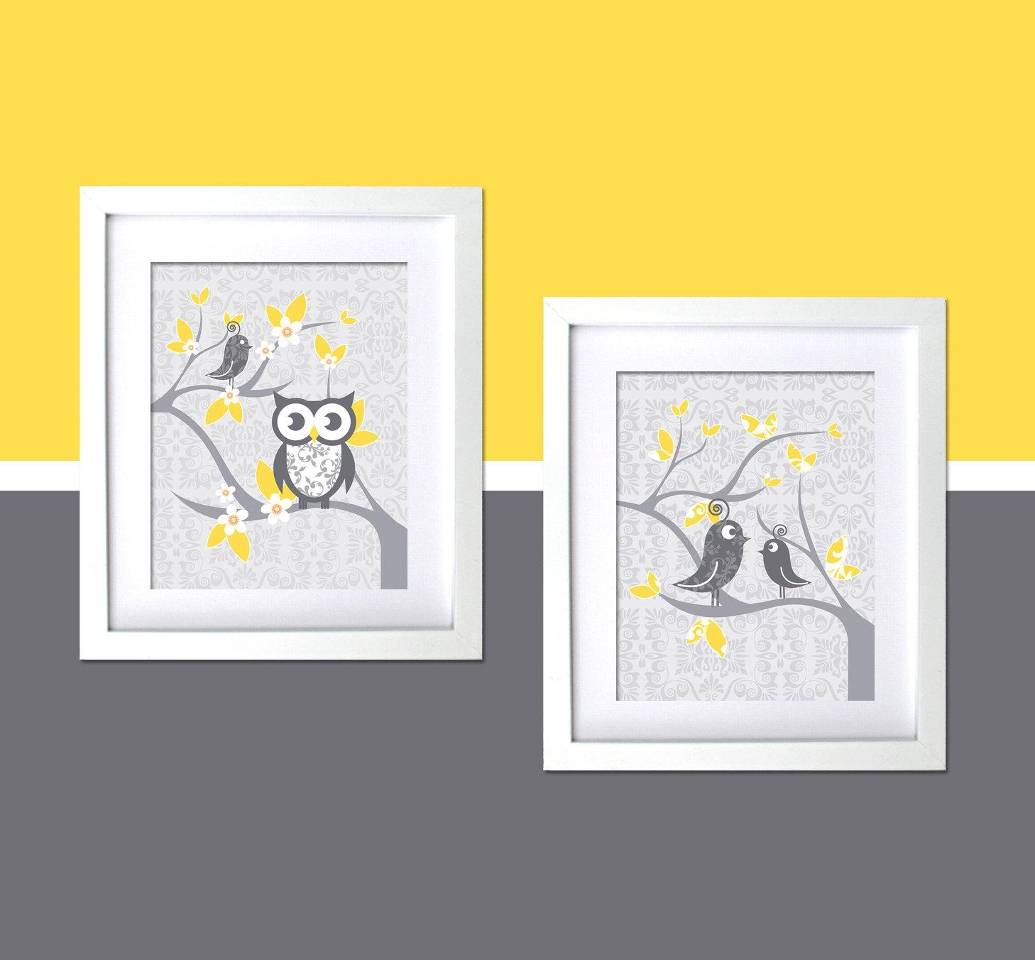 Gray Yellow Kids Wall Decor Nursery Art Modern Room Whimsical With Regard To Yellow And Grey Wall Art (Image 8 of 20)