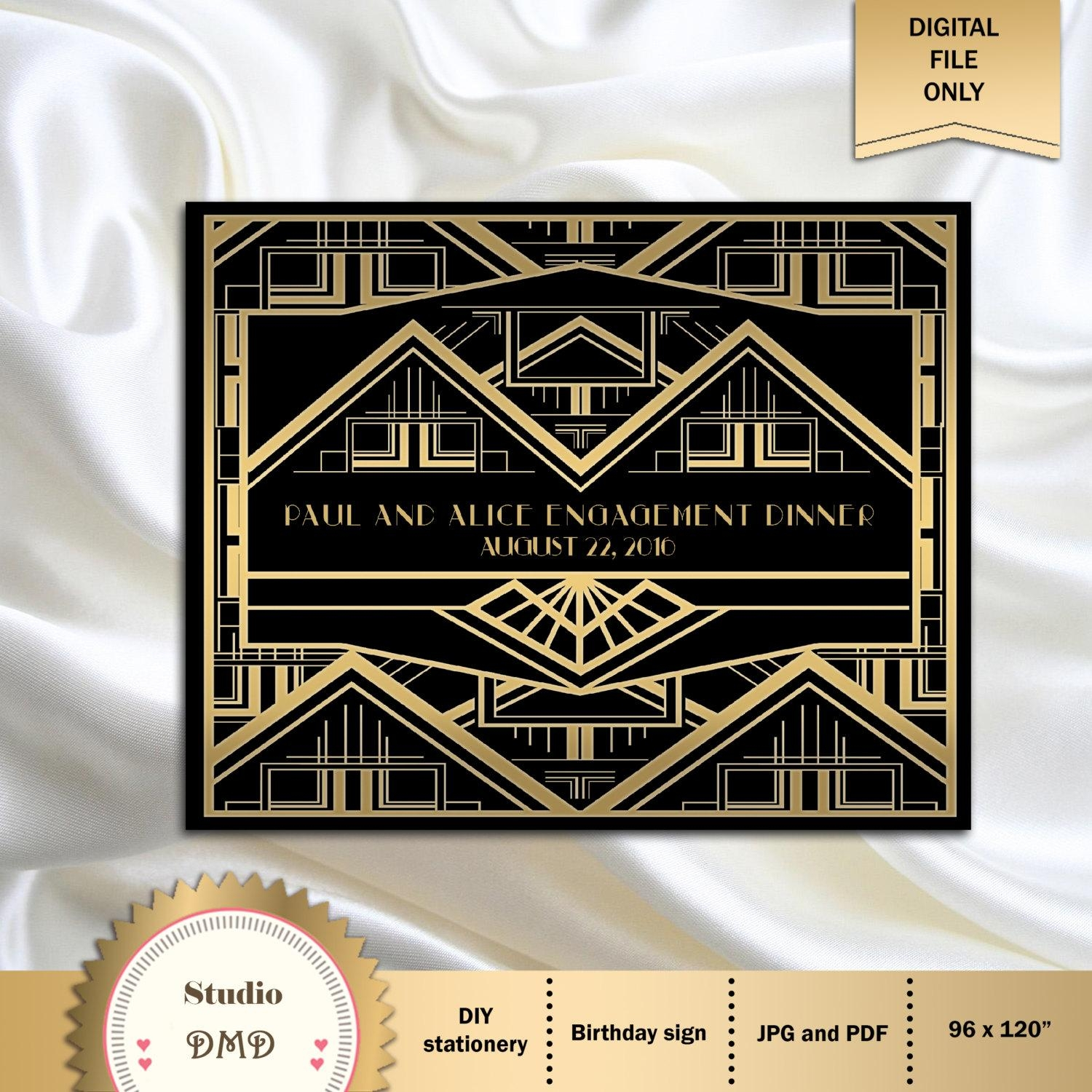 Great Gatsby Art Deco Backdrop For Photos Wall Decor Party regarding Great Gatsby Wall Art