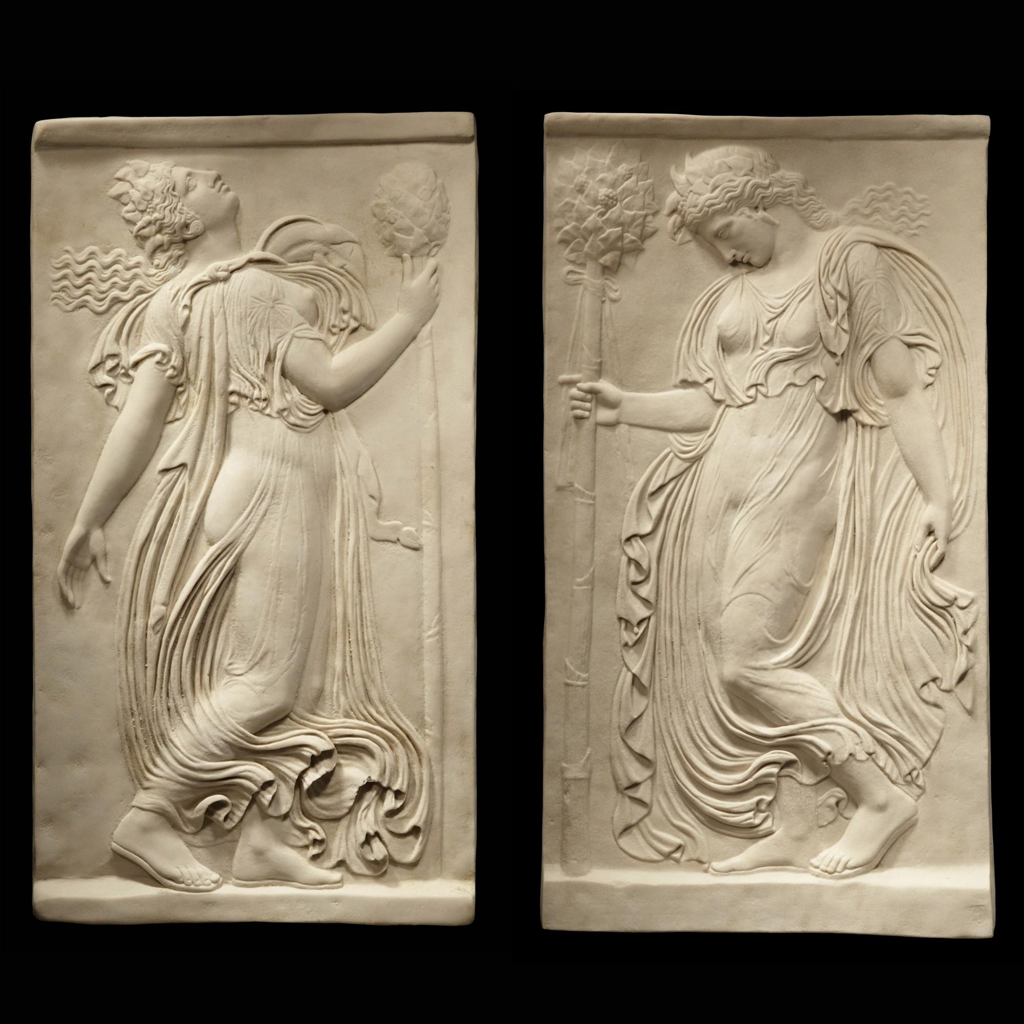Greek Goddess Pair - Ancient Greek Marble Wall Relief Plaque | S&s inside Ancient Greek Wall Art