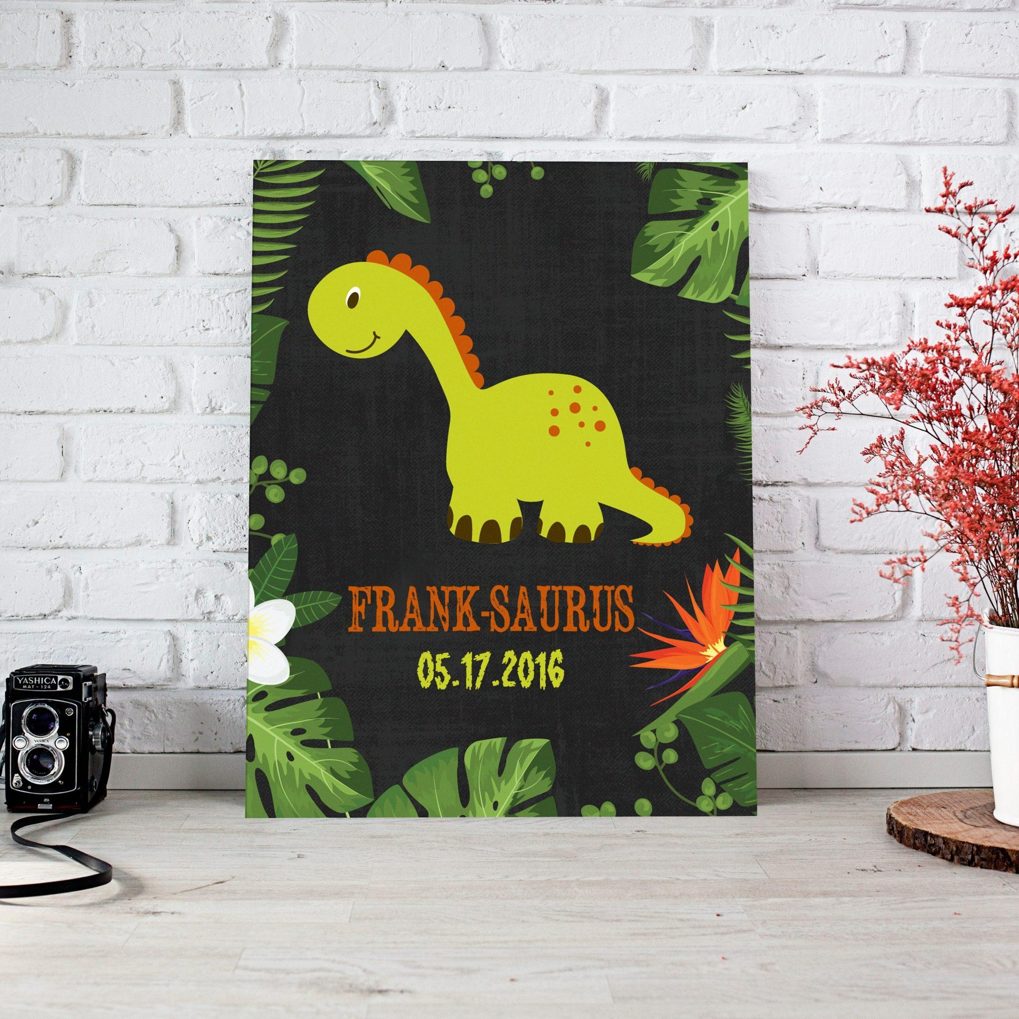 Green Dinosaur Personalized Nursery Décor Canvas Wall Art – Paper For Dinosaur Canvas Wall Art (Image 10 of 20)