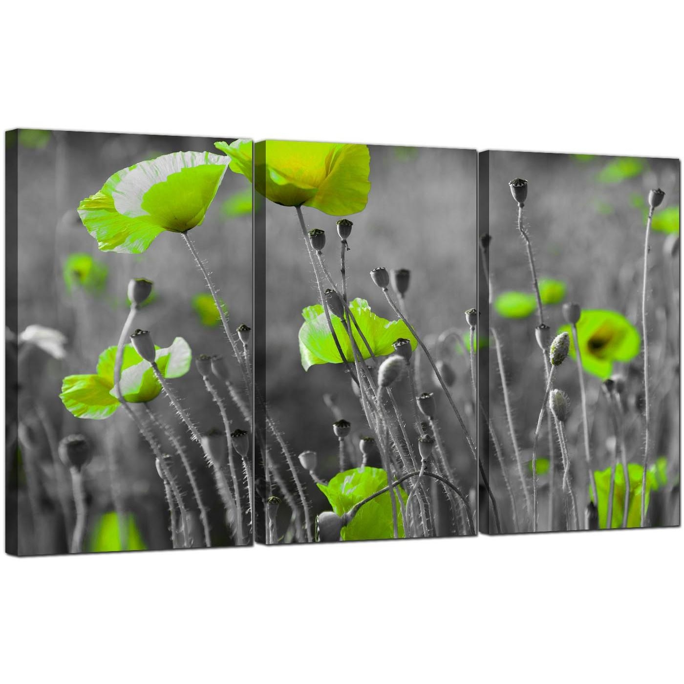 Green Poppy Canvas Wall Art 3 Part For Your Living Room within Green Canvas Wall Art