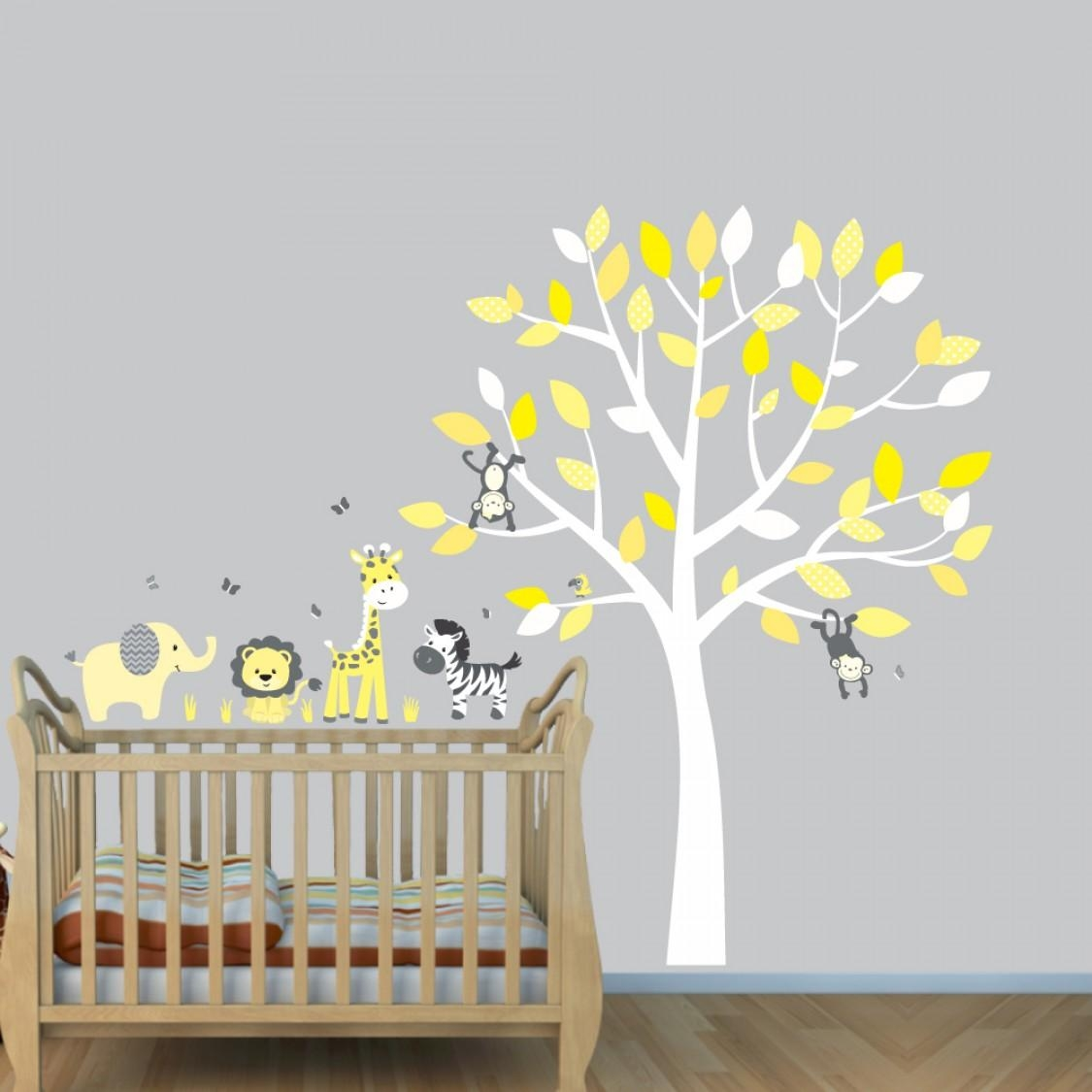 Grey Jungle Wall Stickers With Elephant Decals For Yellow Nursery Throughout Gray And Yellow Wall Art (Image 5 of 20)