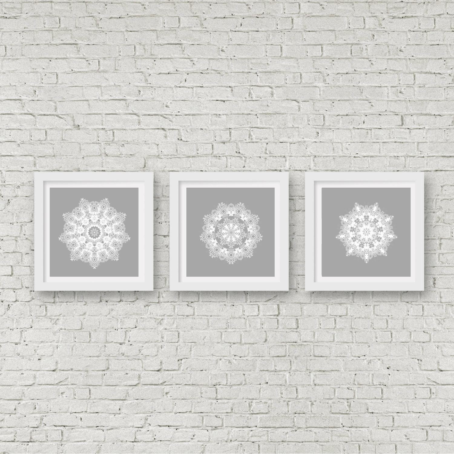 Grey Mandala Wall Art Set Of 3 Matching Prints White Wall Art Regarding Matching Wall Art Set (Image 3 of 20)