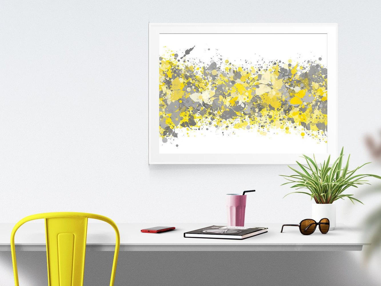 Grey Yellow Abstract Watercolor Print Office Decor Gray Grey Regarding Yellow Grey Wall Art (Image 9 of 20)