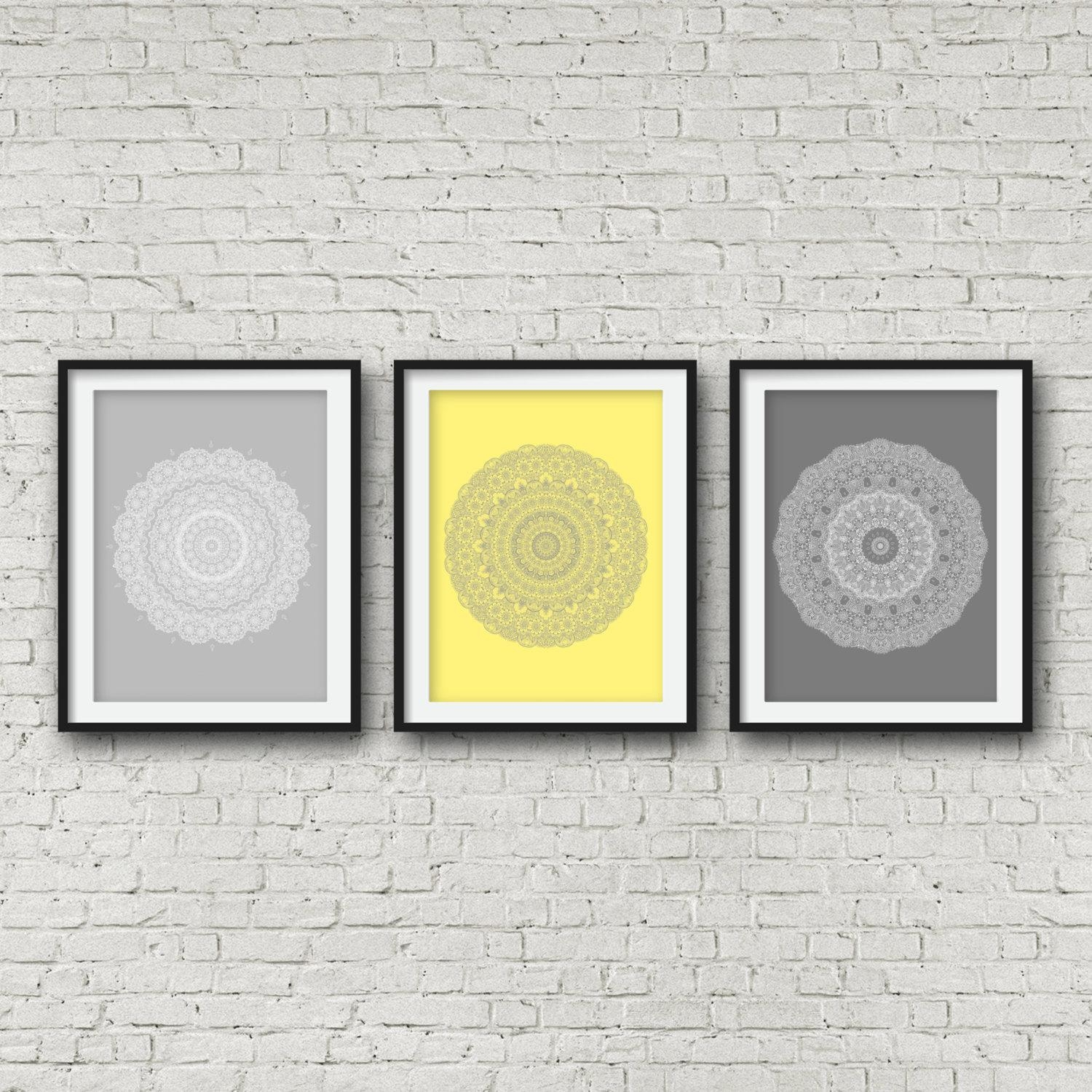 Grey Yellow Print Set Over The Bed Decor Matching Wall Art Set Regarding Matching Wall Art Set (Image 4 of 20)