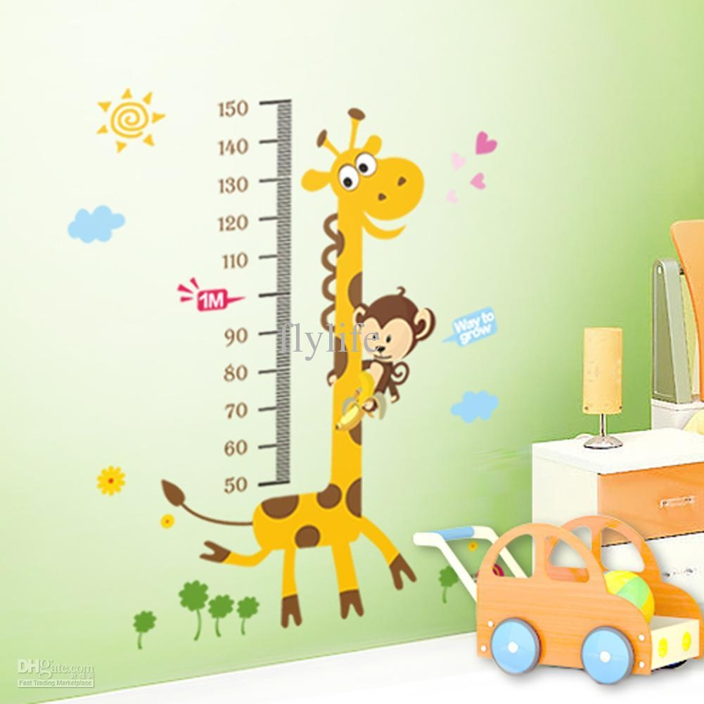 Growth Height Chart Stickers Children's Decorative Stickers For With Regard To Wall Art Stickers For Childrens Rooms (View 18 of 20)