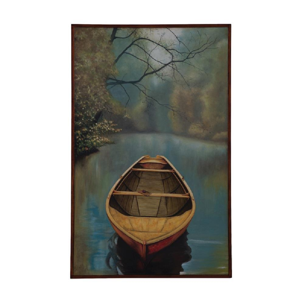 "Guildmaster 48 In. X 30 In. ""river Boat"" Framed Hand Painted inside Boat Wall Art"
