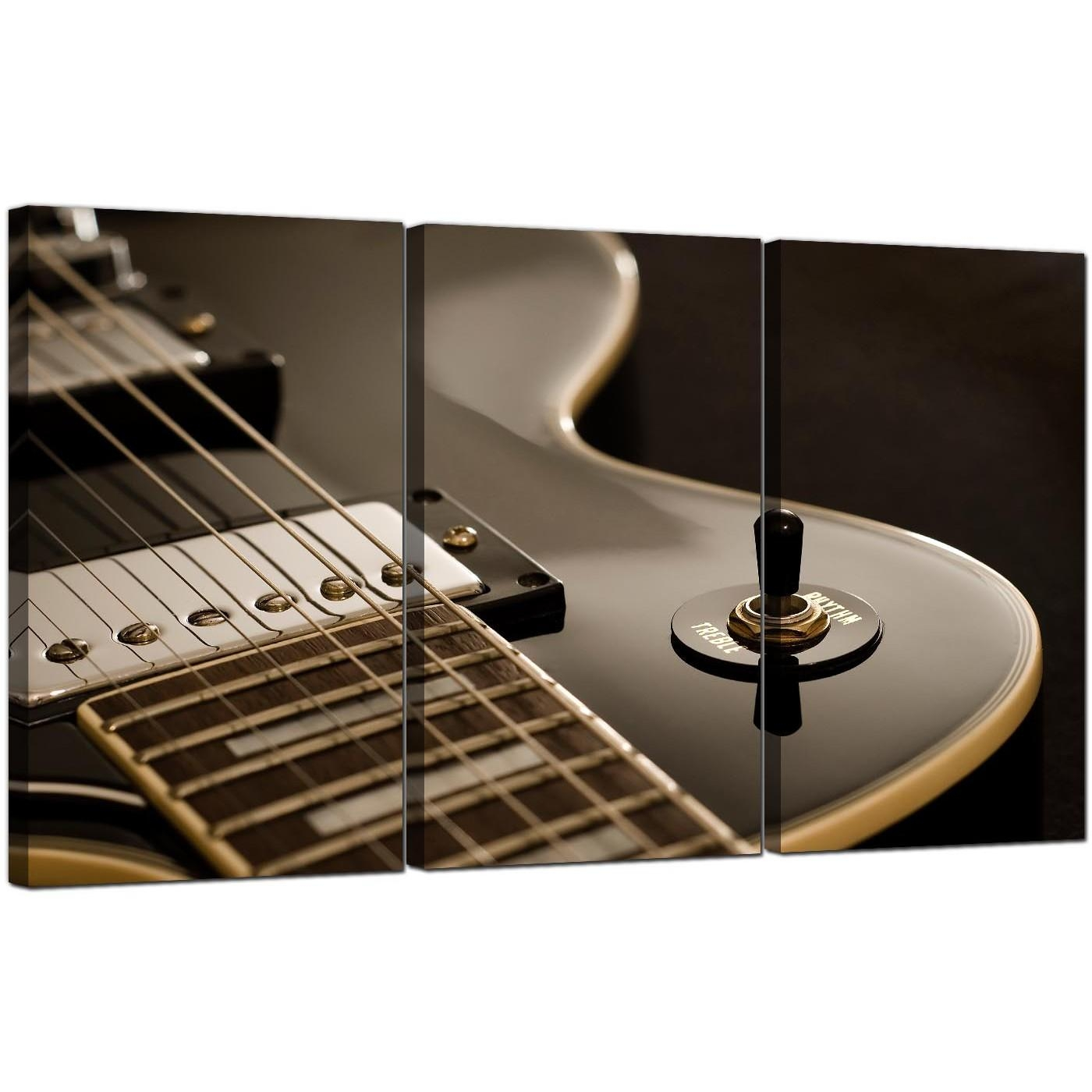 Guitar Canvas Prints Uk Set Of 3 For Your Teenage Boys Bedroom Pertaining To Guitar Canvas Wall Art (Image 11 of 20)