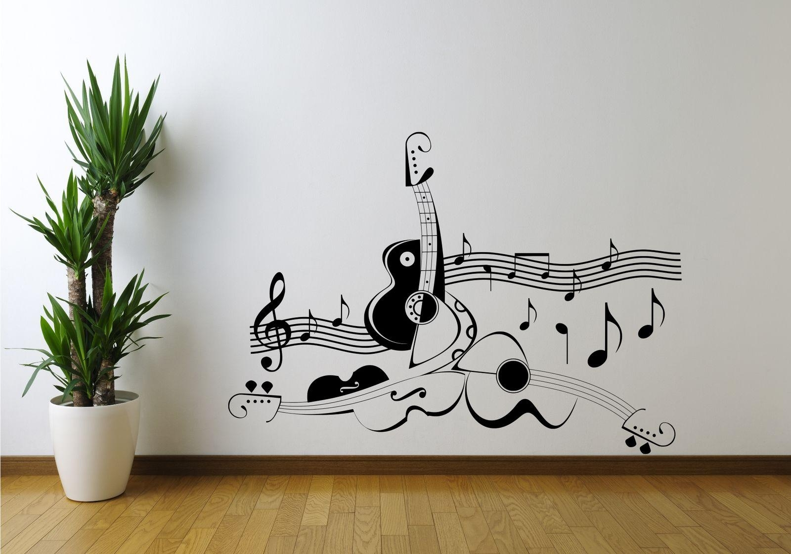 Guitar Music Note Symbol Violin Wall Art Sticker Decal Mural Vinyl With Regard To Music Note Art For Walls (View 12 of 20)