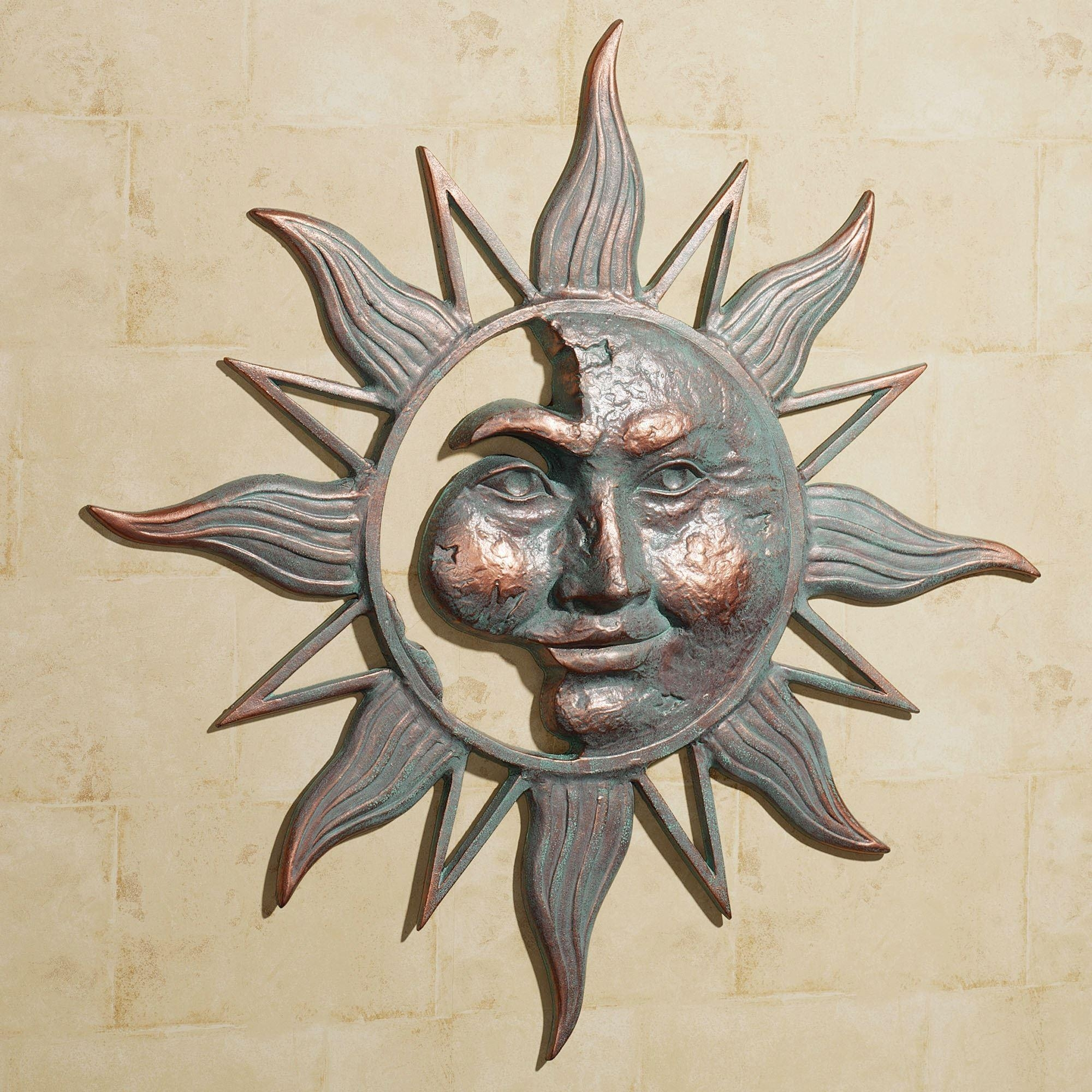 Half Face Sun Indoor Outdoor Metal Wall Art within Outside Wall Art