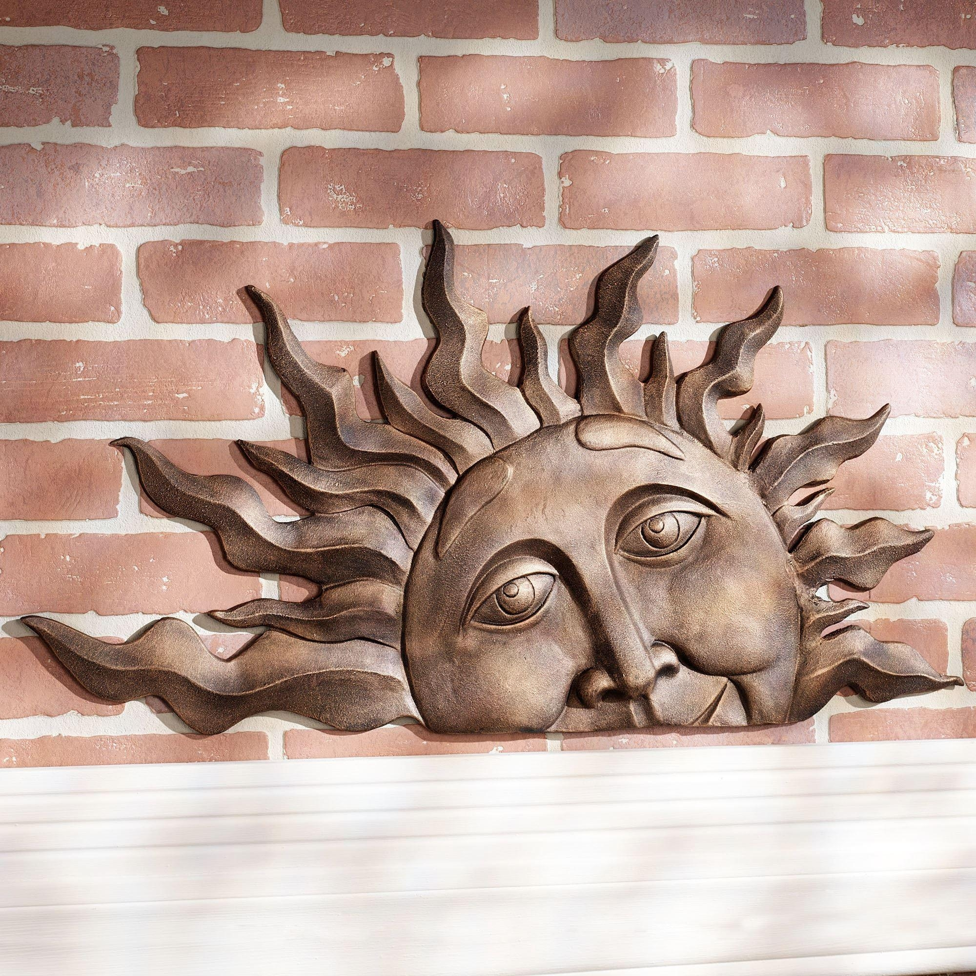 Half Sun Face Indoor Outdoor Metal Wall Plaque Art Intended For Outdoor Wall Sculpture Art (Image 6 of 20)
