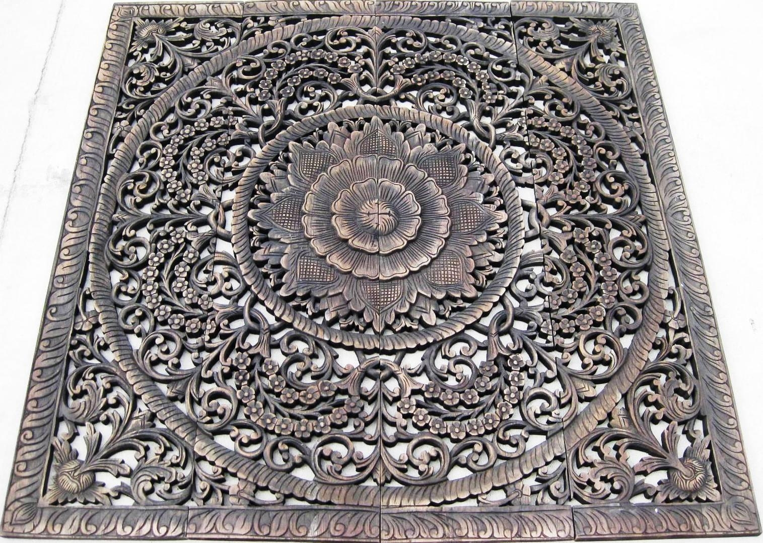 Hand Carved Teak Panel/teak Wood Panels/teak Wood Carvings Throughout Wood Carved Wall Art Panels (Image 6 of 20)