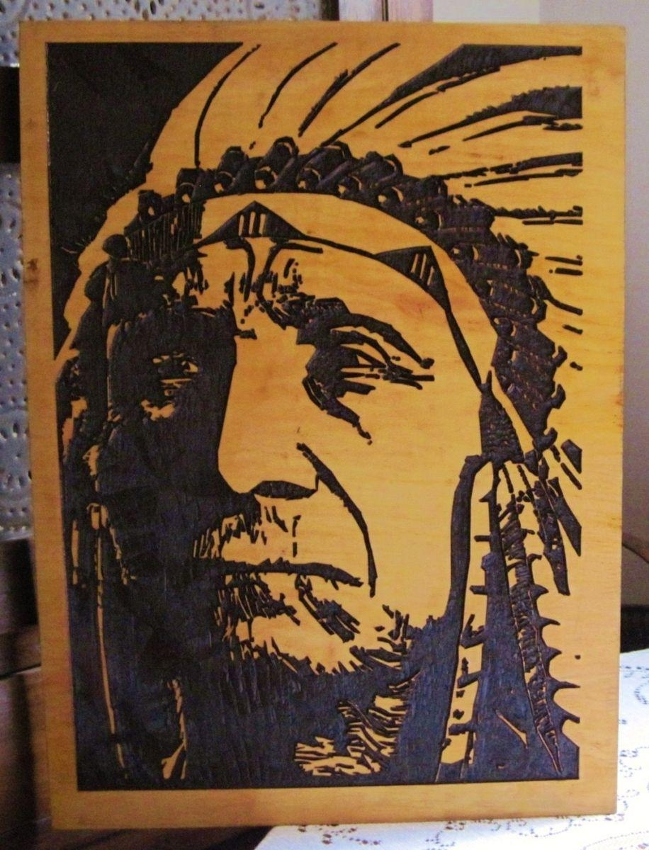 Hand Crafted A Very Wise Man - Handmade Carved Wood Native for Native American Wall Art