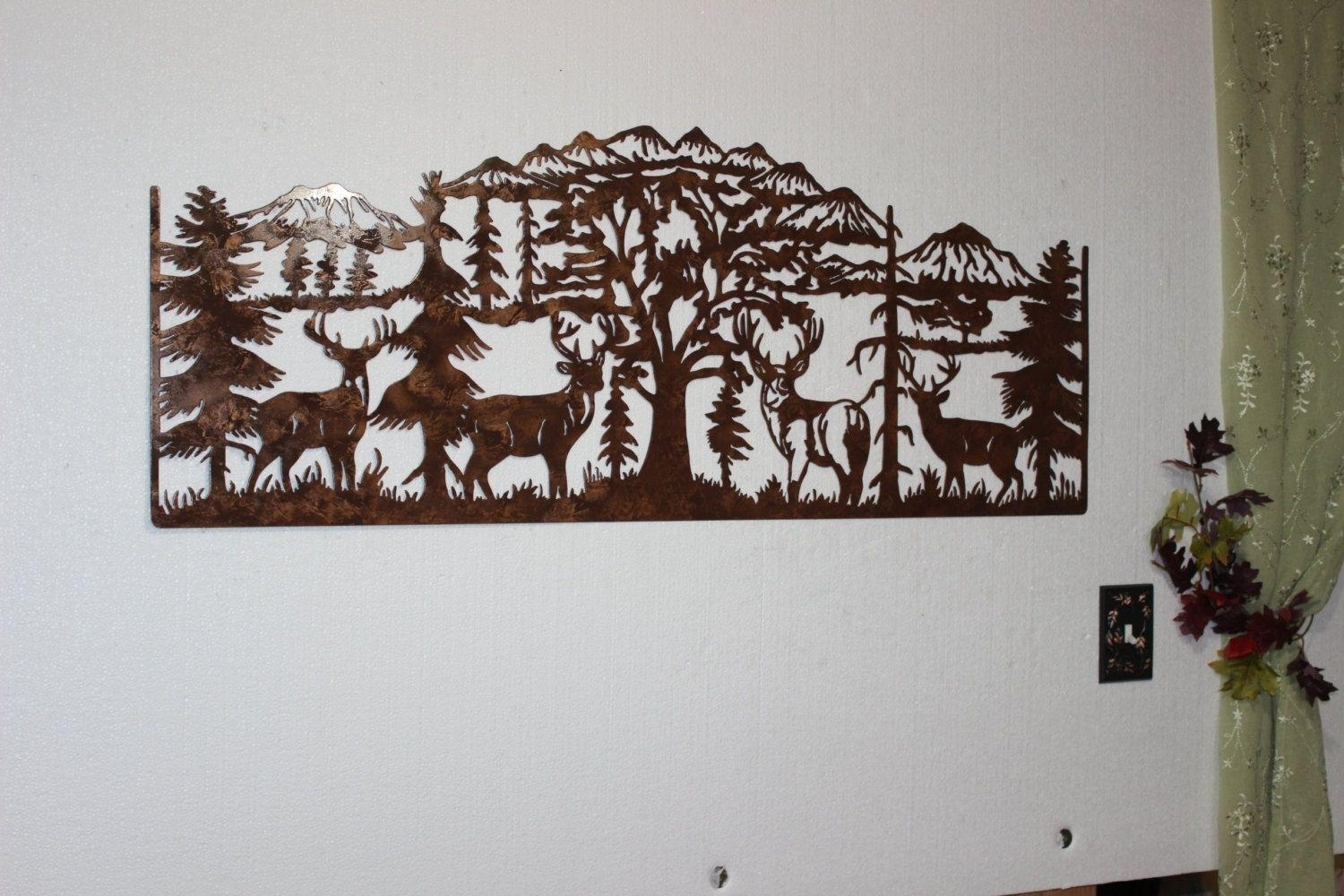 Hand Crafted Deer And Mountain Scene With 4 Majestic Bucks Large pertaining to Mountain Scene Metal Wall Art