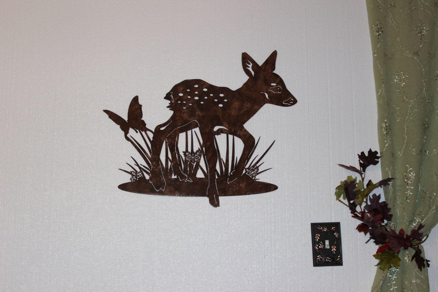 Hand Crafted Deer Fawn With Butterfly Metal Wall Art Country For Country Metal Wall Art (Image 8 of 20)