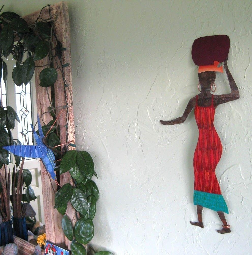 Hand Crafted Handmade Upcycled Metal African Lady In Red Wall Art in African Metal Wall Art