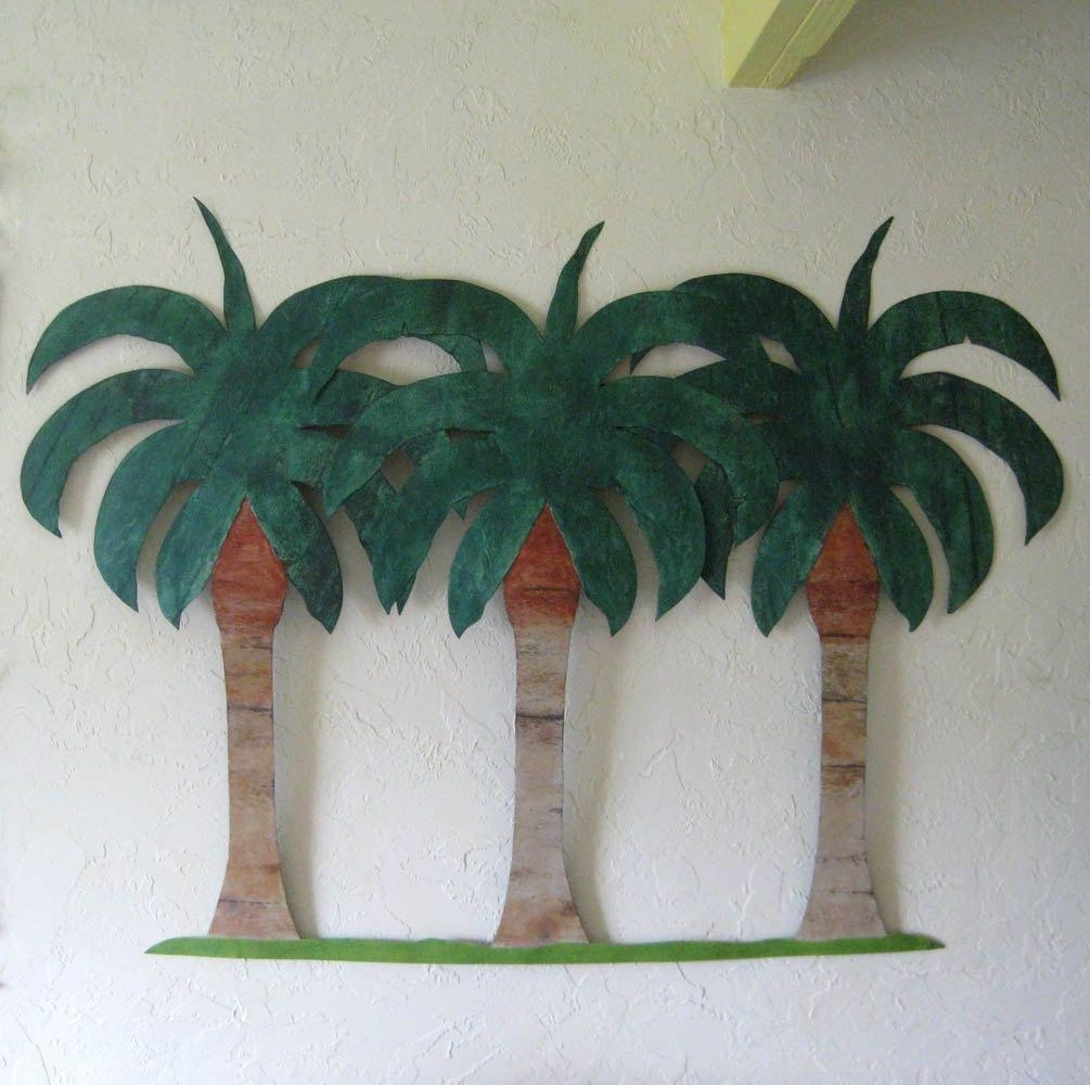 Hand Crafted Handmade Upcycled Metal Extra Large Palm Tree Wall For Palm Tree Metal Art (Image 9 of 20)