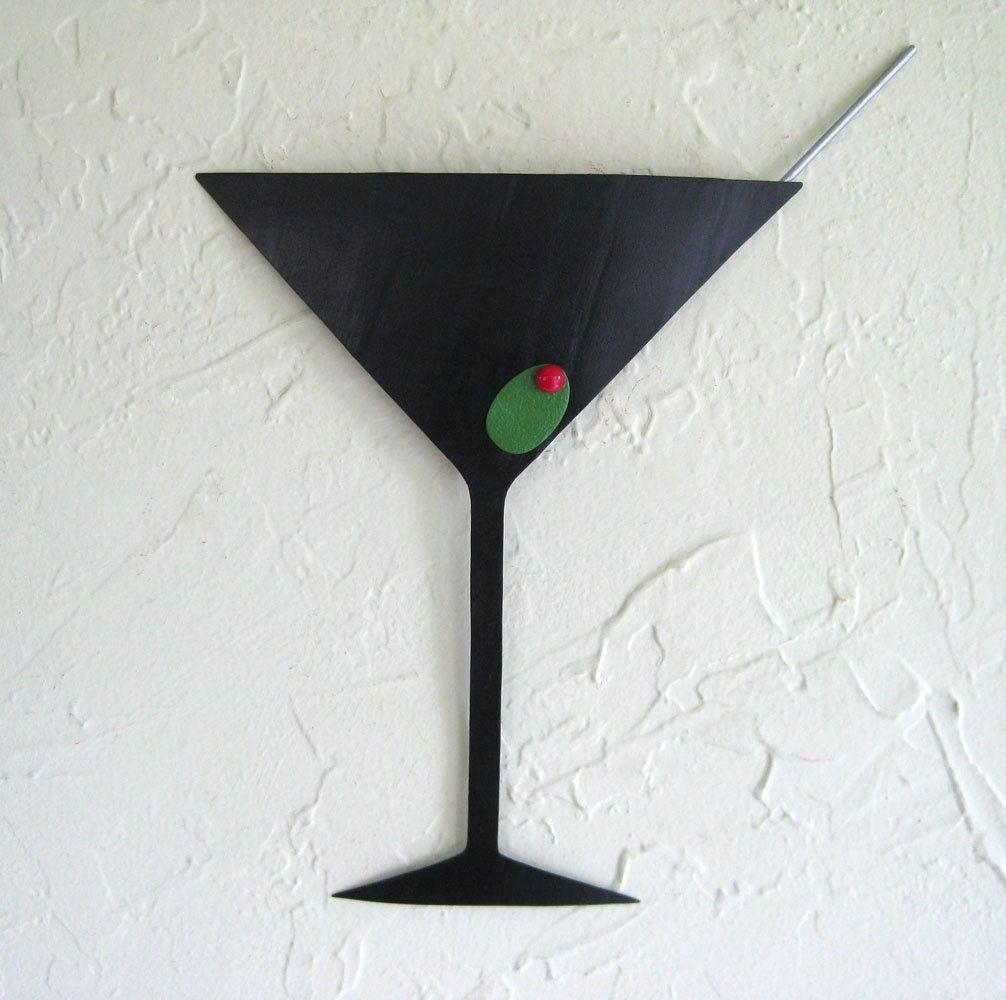 Hand Crafted Handmade Upcycled Metal Martini Wall Art Sculpture Regarding Martini Glass Wall Art (View 2 of 20)