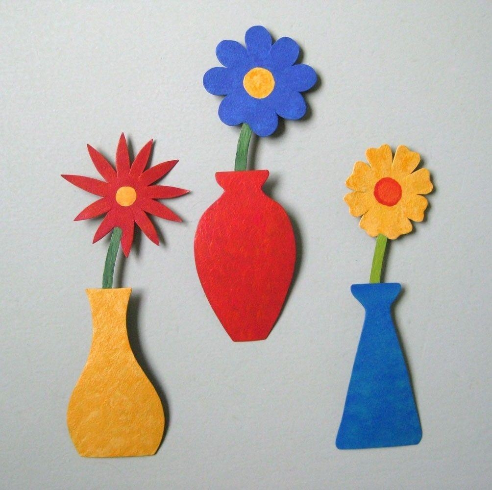 Hand Crafted Handmade Upcycled Metal Mini Flower Vase Wall Art With Regard To Red Flower Metal Wall Art (Image 6 of 20)