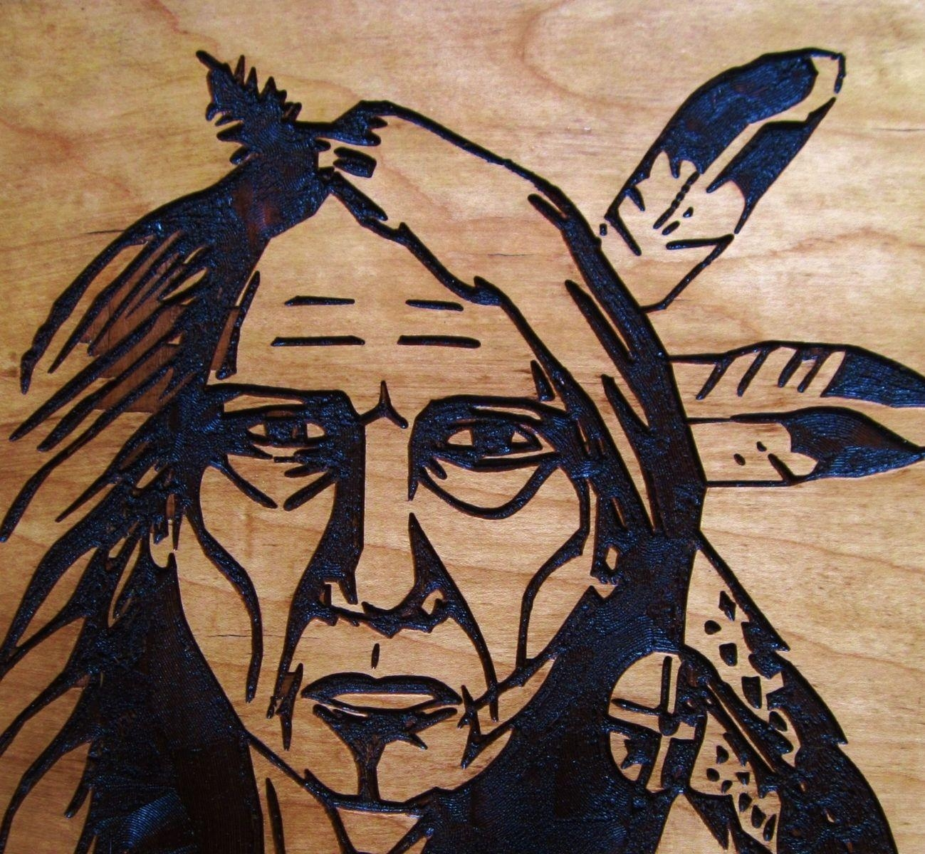 Hand Crafted Native American Indian Elder Woman Handmade Wood in Native American Wall Art