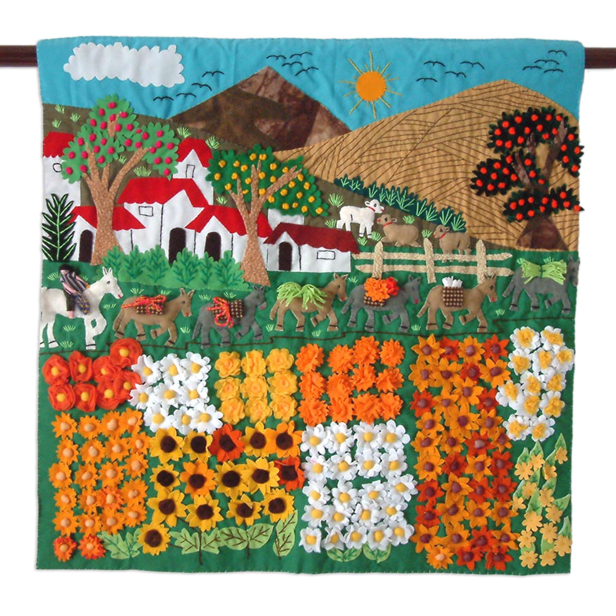Hand Crafted Peruvian Folk Art Applique Wall Hanging – Sunflower In Peruvian Wall Art (Image 7 of 20)