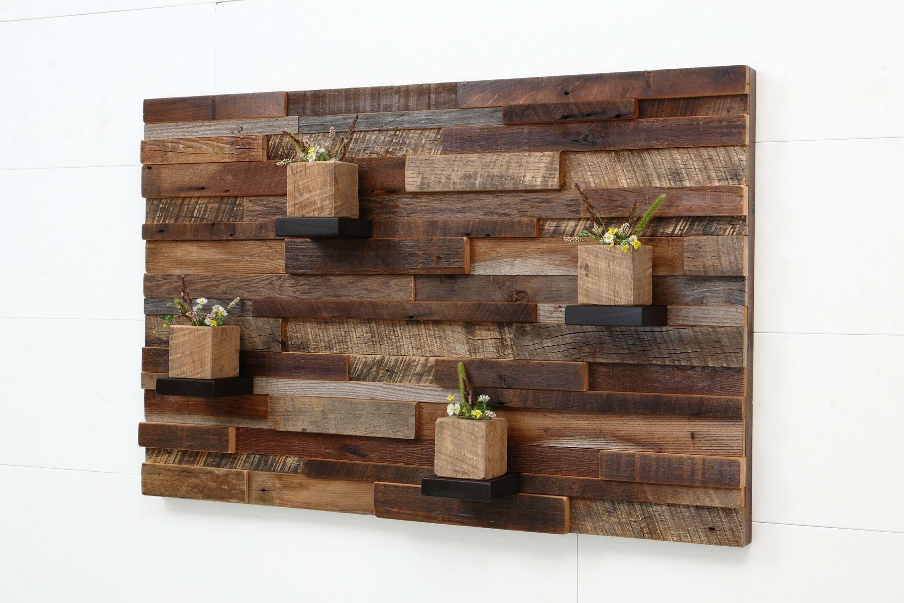Hand Crafted Reclaimed Wood Wall Art Made Of Old Barnwood (Image 7 of 20)