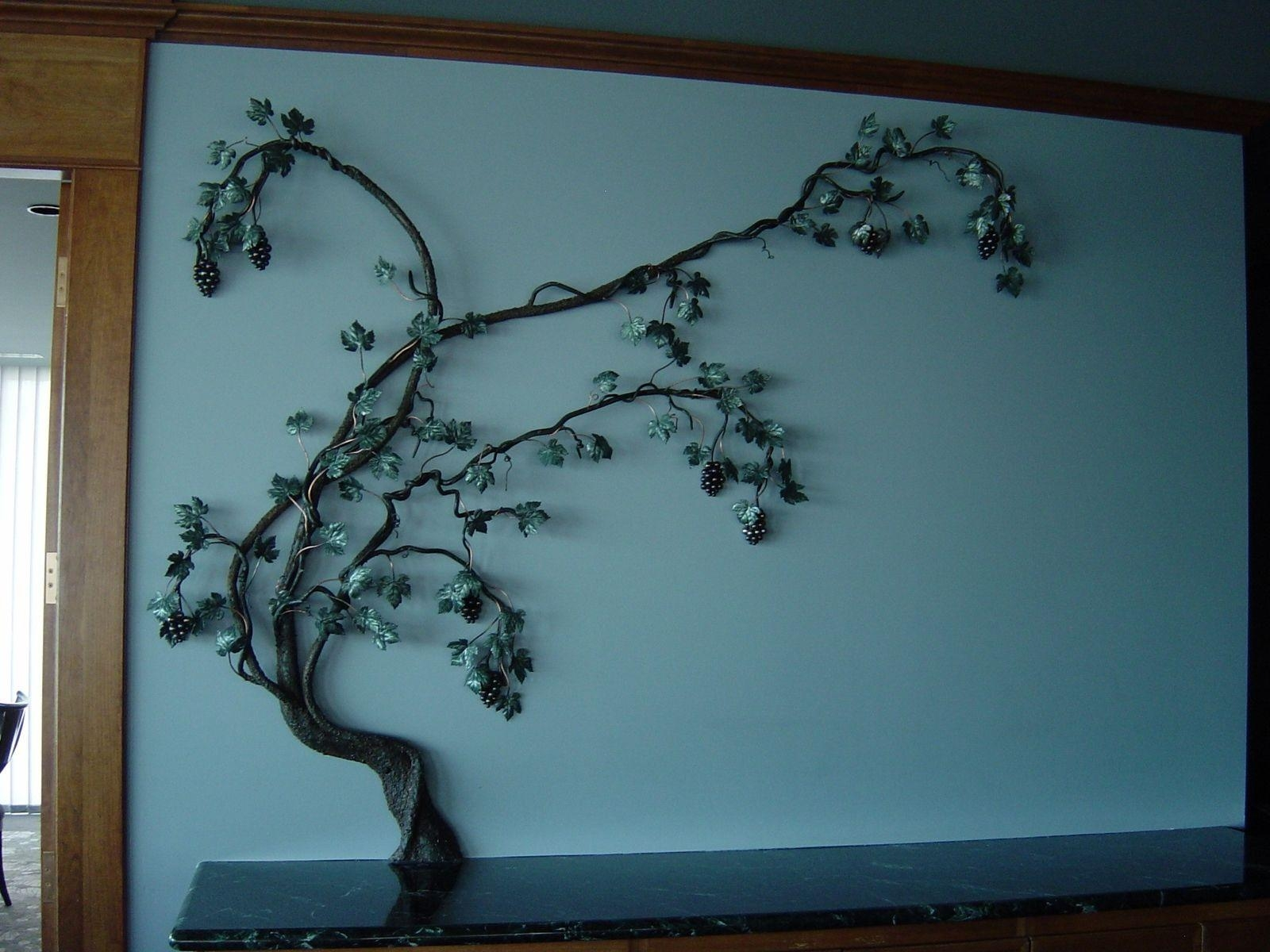 Hand Crafted Steel Grape Vine Wall Sculpturereflections From in Grape Wall Art