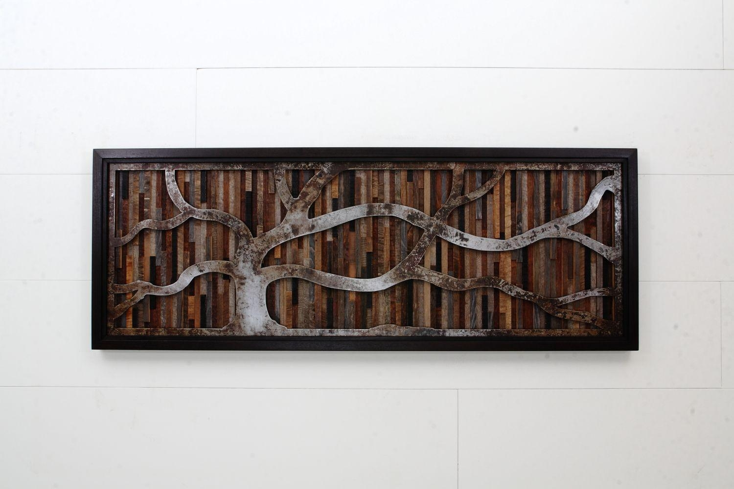 Hand Crafted Wood Wall Art Made Of Old Barnwood And Natural Steel In Natural Wood Wall Art (Image 8 of 20)