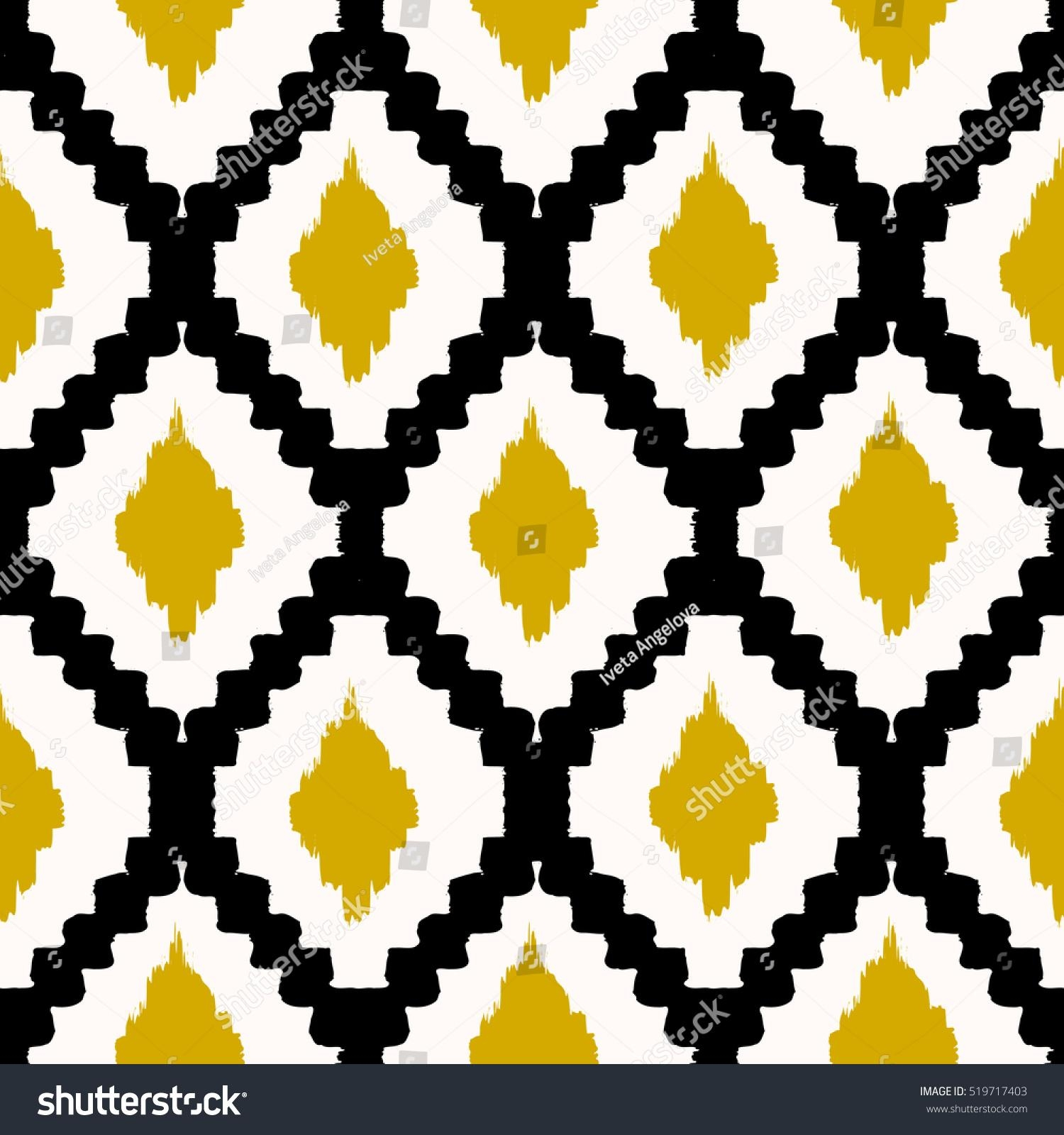 Hand Drawn Seamless Tribal Pattern Black Stock Vector 519717403 In Pattern Wall Art (View 12 of 20)