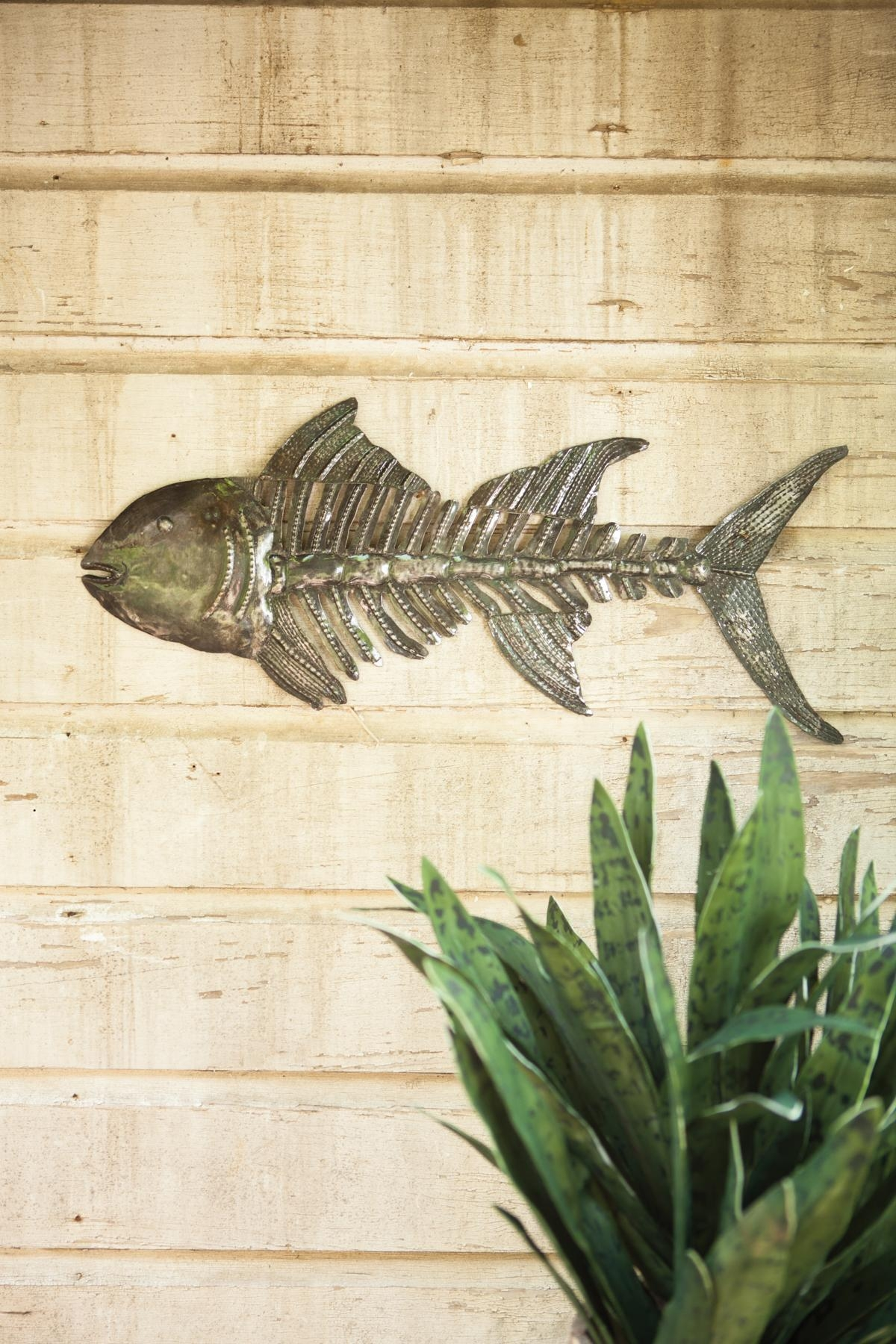 Hand Hammered Metal Fish Skull Wall Hanging At Seasideinspired In Hammered Metal Wall Art (Image 6 of 20)