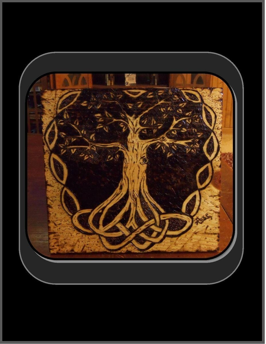Hand Made Celtic Knot, Tree Of Life, Pyrography, Tree Of Life Art within Celtic Tree Of Life Wall Art