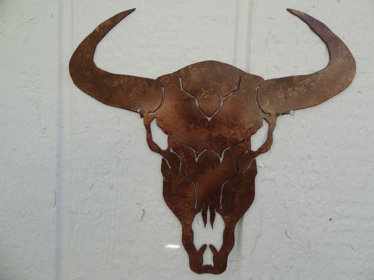 "Hand Made Cow Skull Solid Metal Wall Art 25"" W X 25""l Antique Throughout Country Metal Wall Art (Image 9 of 20)"