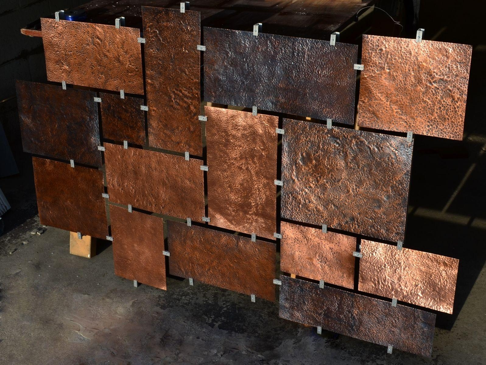 Hand Made Custom Hammered Copper Wall Artfabitecture Within Hammered Metal Wall Art (Image 5 of 20)