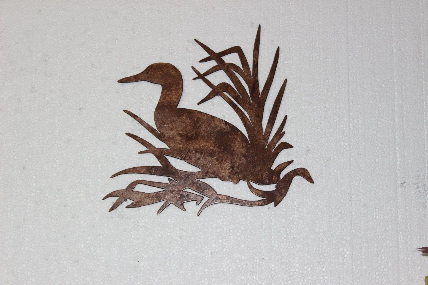 Hand Made Duck In Reeds On Sawblade Metal Wall Art Country Rustic Regarding Country Metal Wall Art (Image 10 of 20)