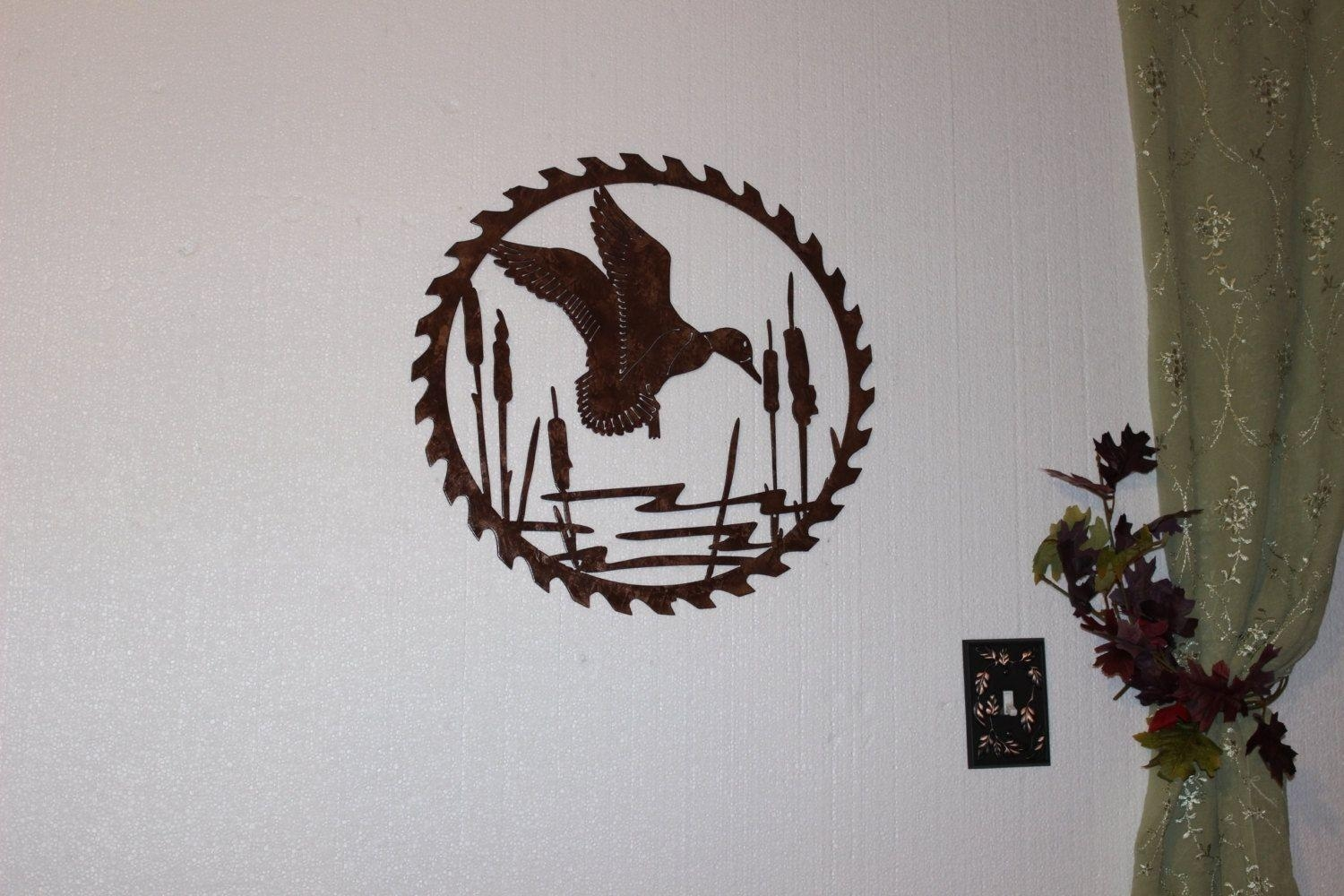Hand Made Duck In Reeds On Sawblade Metal Wall Art Country Rustic with regard to Country Metal Wall Art