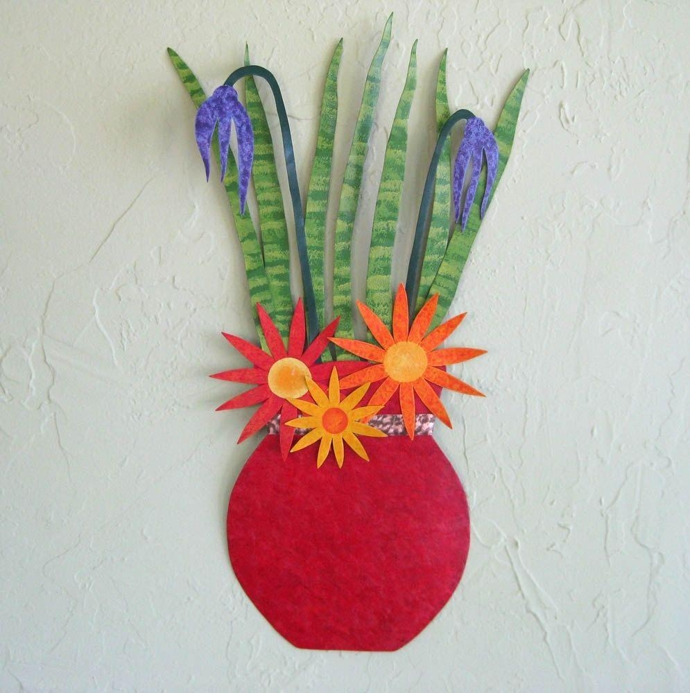 Hand Made Handmade Upcycled Metal Flower Vase Wall Art Sculpture With Regard To Red Flower Metal Wall Art (Image 7 of 20)