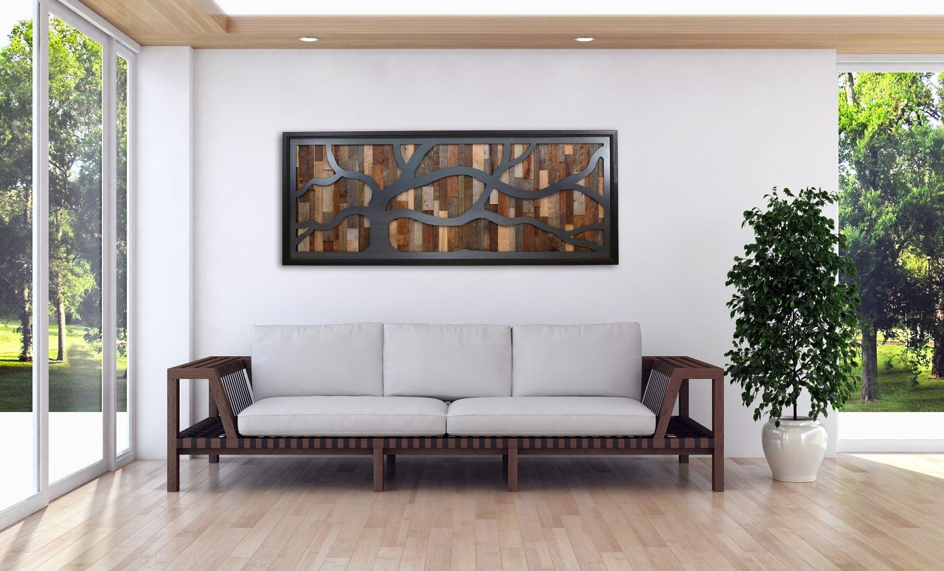 Hand Made Reclaimed Wood Wall Art Made Of Old Barnwood And Natural Throughout Natural Wood Wall Art (Image 9 of 20)