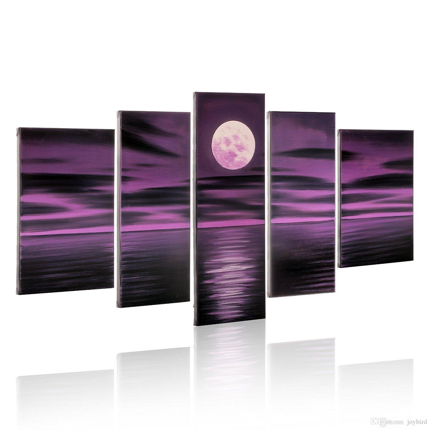 Hand Paint Seascape Painting 5 Panel Bright Full Moon Purple Throughout Purple Abstract Wall Art (Image 6 of 20)