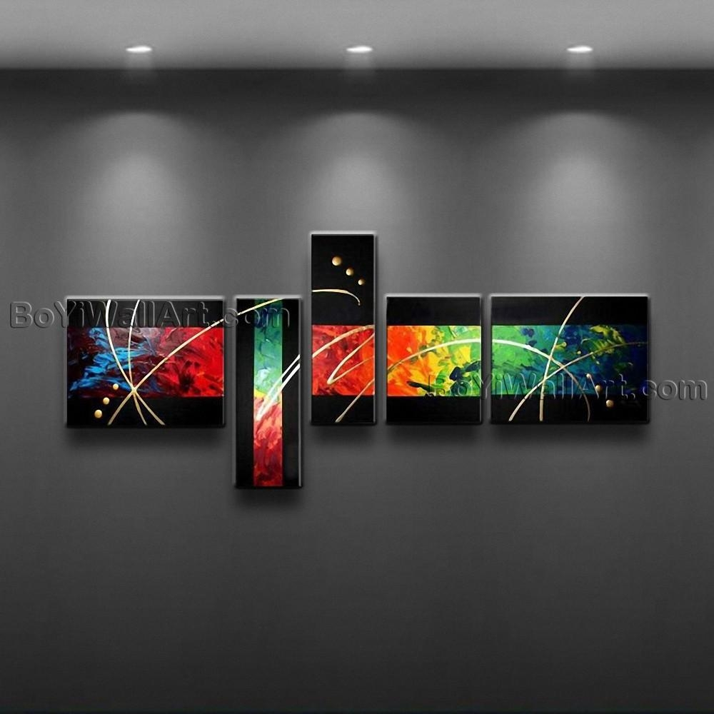 Hand Painted Abstract Painting Canvas Wall Art Framed Colorful 5 with Abstract Canvas Wall Art