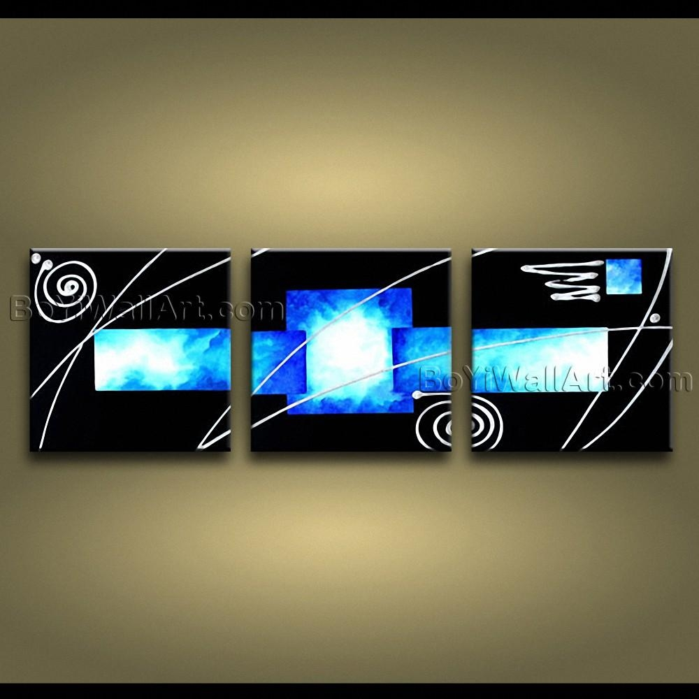 Hand Painted Abstract Painting On Canvas Sky Blue Black 3 Pieces With Regard To 3 Piece Abstract Wall Art (Image 11 of 20)
