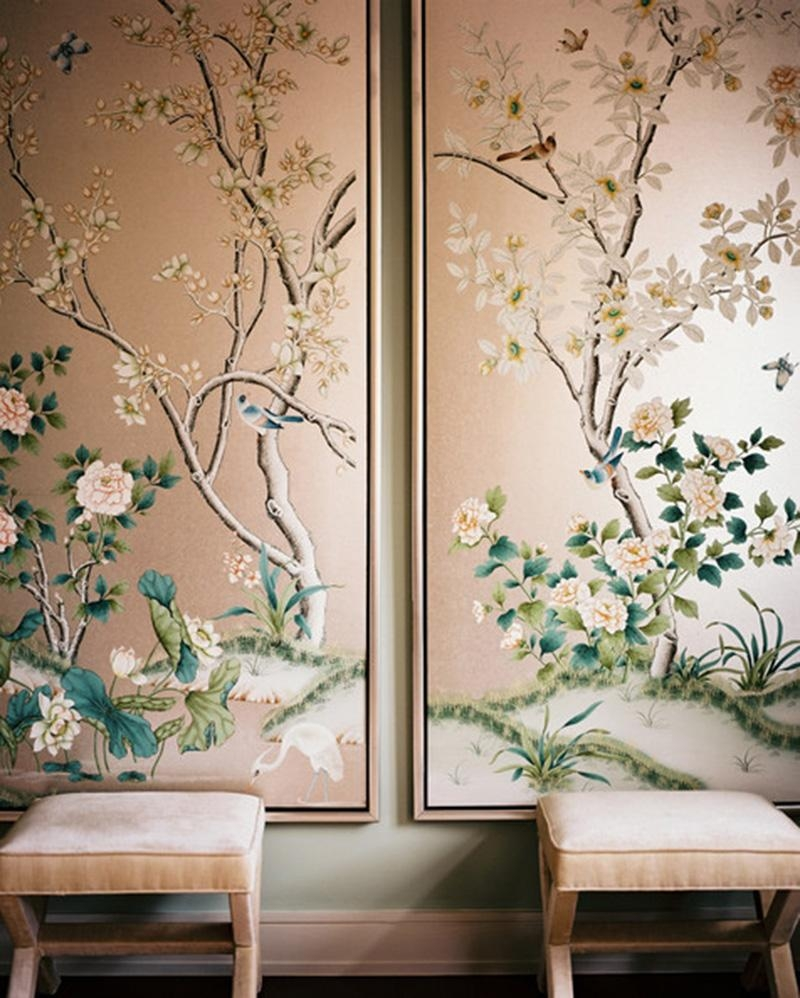 Hand Painted & Chinoiserie Wall Panels :: This Is Glamorous with regard to Chinoiserie Wall Art