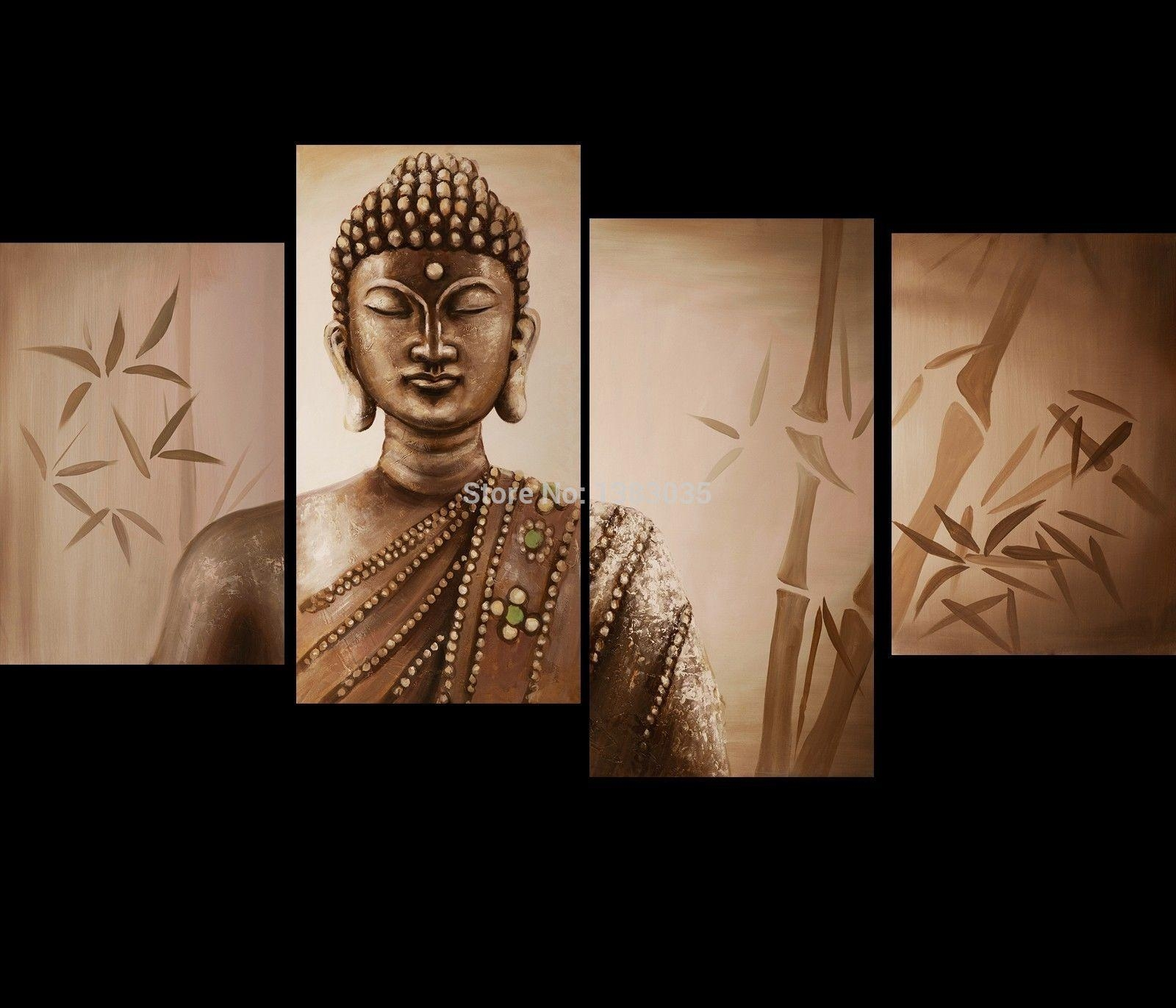 Hand Painted Modern Abstract Bamboo Buddha Oil Painting On Canvas intended for Japanese Wall Art Panels