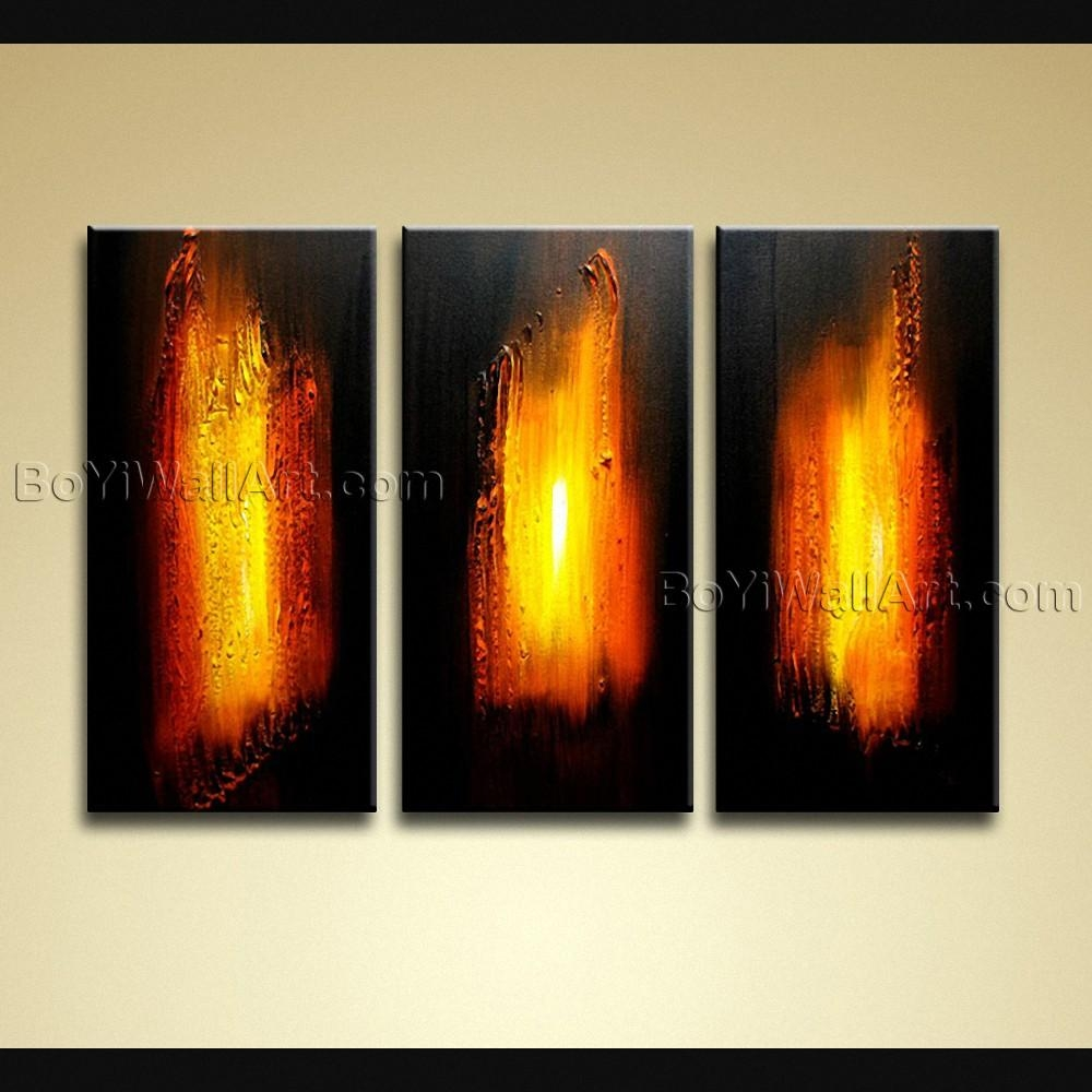 Hand Painted Modern Abstract Painting On Canvas Wall Art 3 Panels In Abstract Canvas Wall Art (Image 15 of 20)