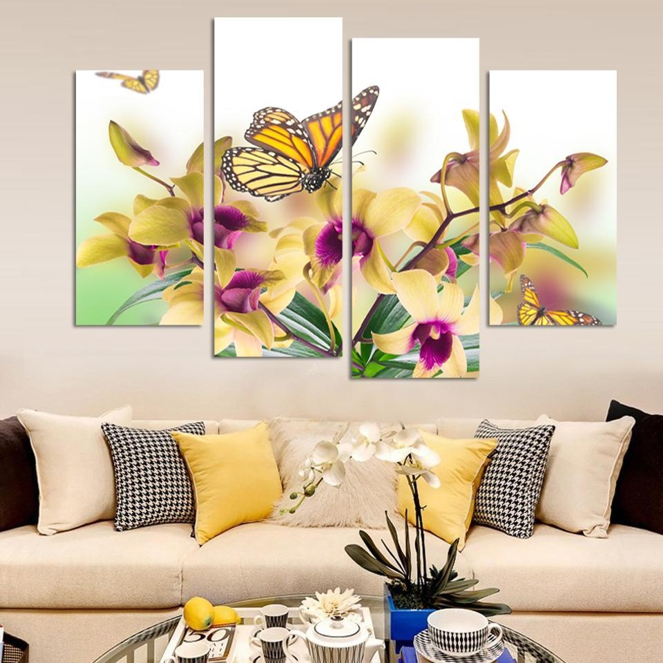 Hand Painted Yellow Butterfly Orchid Flowers Decorative Canvas Intended For 4 Piece Wall Art (Image 11 of 19)