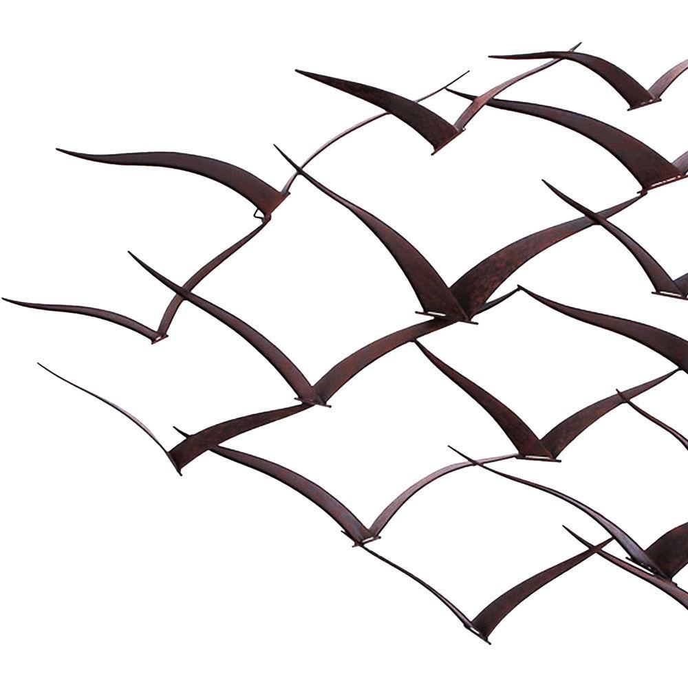 Handcrafted Flock Of Metal Flying Birds Wall Art Decorative Intended For Flock Of Birds Wall Art (Image 14 of 20)
