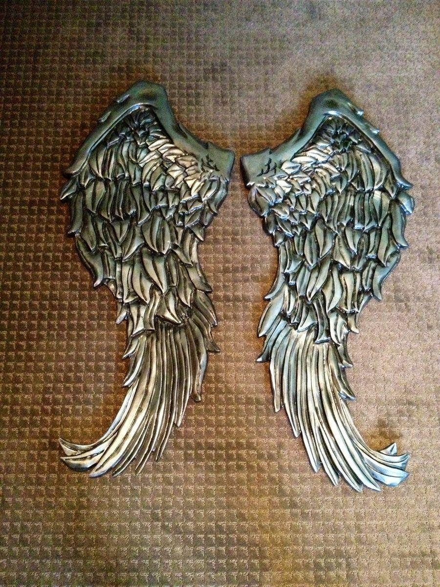 Handmade Angel Wings Wall Decor Wood Carvingnevermore Inside Angel Wings Sculpture Plaque Wall Art (Image 14 of 20)